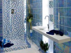 голубая мозаика,ванная