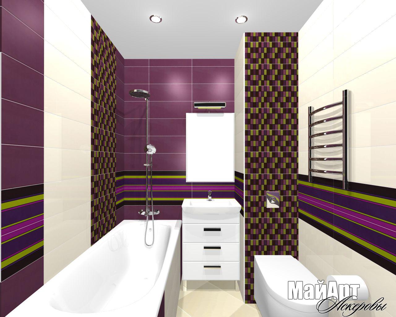 Ванная комната (Теплый стан) 1,5х1,8м . Плитка Aleluia Ceramicas  Spoony (цвет Jummy)