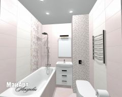 Ванная комната (Теплый стан) 1,5х1,8м . Плитка Love Secrets