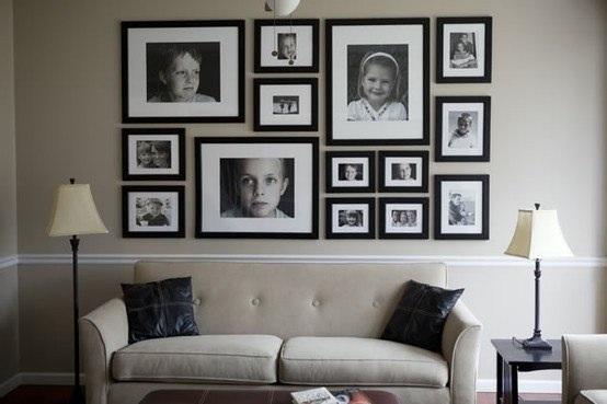 Фото в рамках дизайн на стене