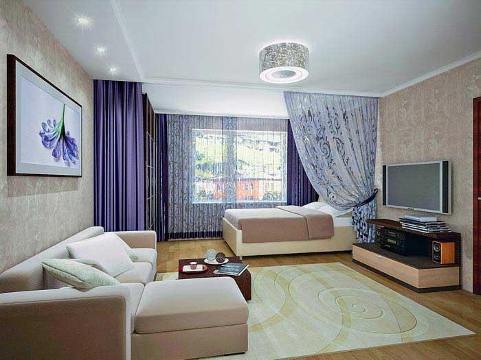 Гостиная-спальня в одной комнате: дизайн и интерьер