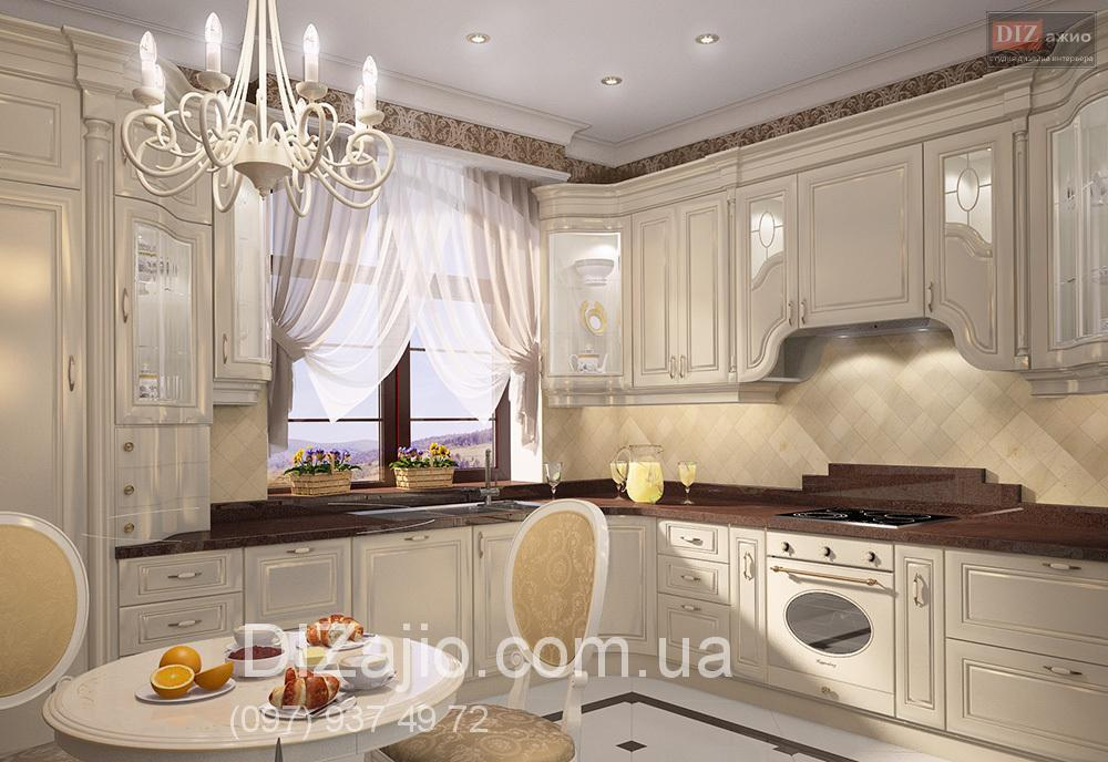 Классическая светлая кухня дизайн