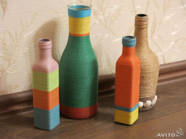 Декоративная ваза из бутылки
