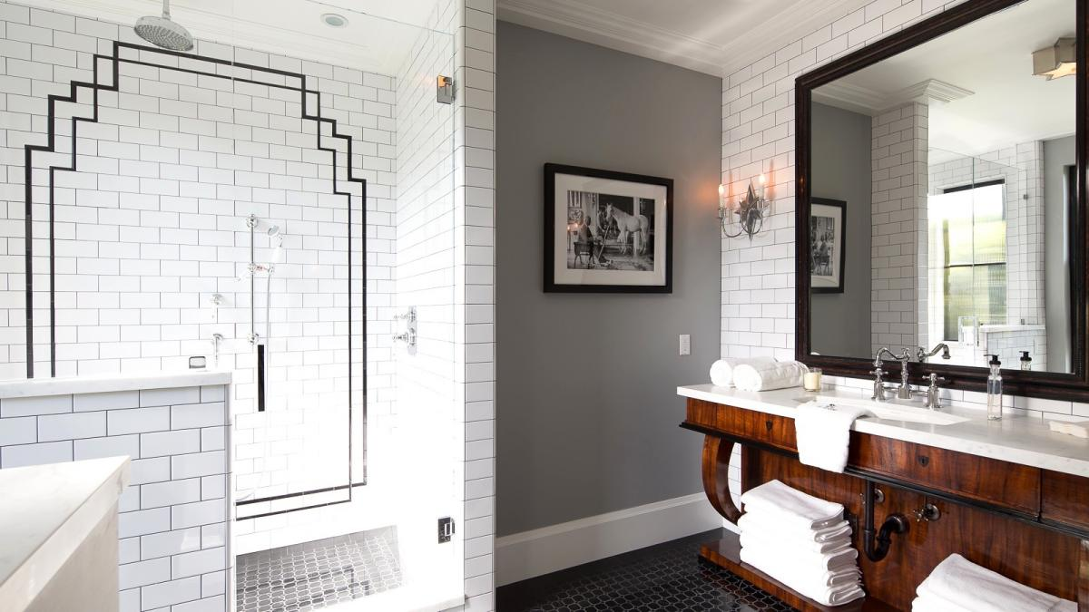 Grey and white tile bathroom