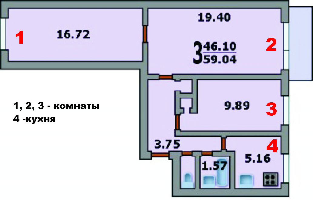Размер балкона в 9 этажном доме.