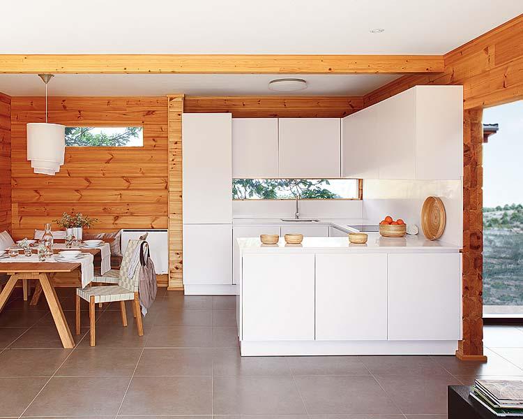 дизайн кухни деревянного дома из бруса внутри фото