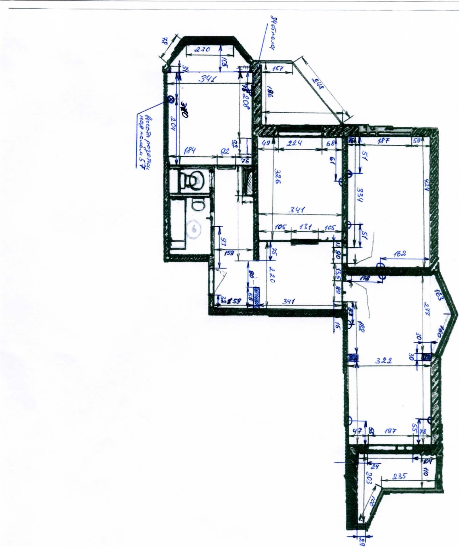 П-44т размеры балконов в трехкомнатной квартире..