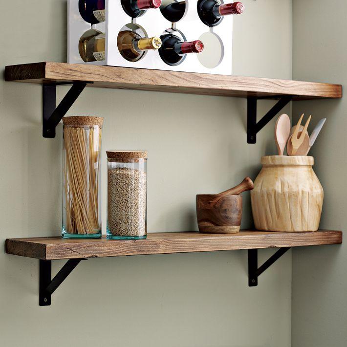 Полки настенные навесные открытые деревянные на кухню