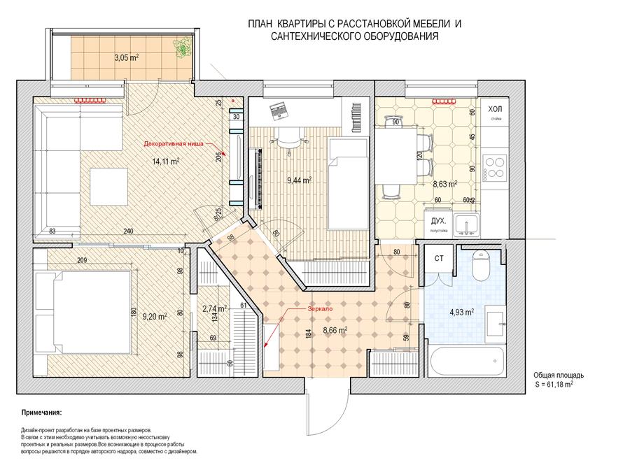 как правильно сделать планировку в квартире 65 кв полную