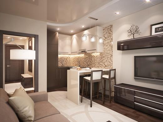 Дизайн кухня гостиная 18 кв.м