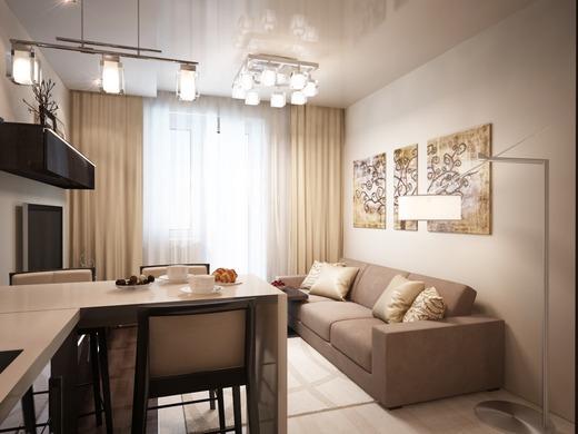 кухня-столовая дизайн фото 18 кв.м