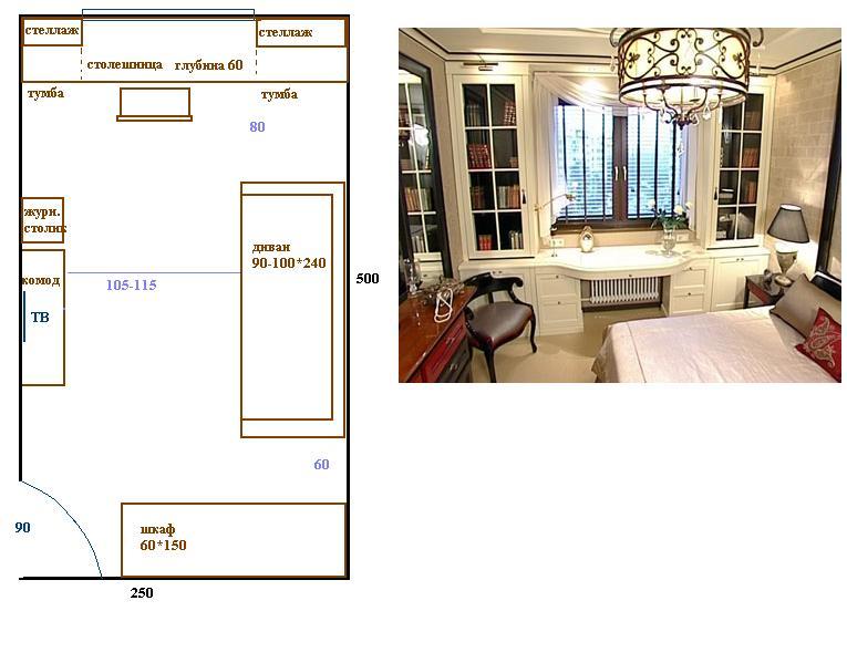 Как можно выполнить дизайн прямоугольной узкой спальни.