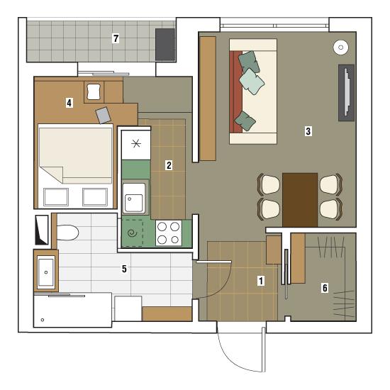 Дизайн однокомнатной квартиры в двухкомнатную 40 кв.м
