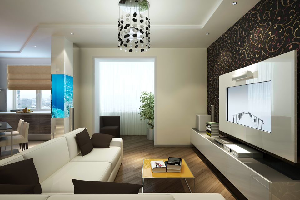 гостиная дизайн проект 16 м2