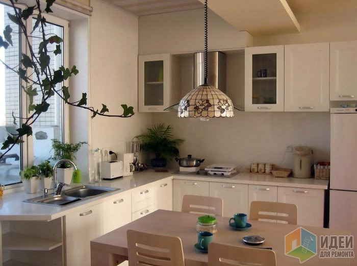 Кухня дизайн мойка под окном