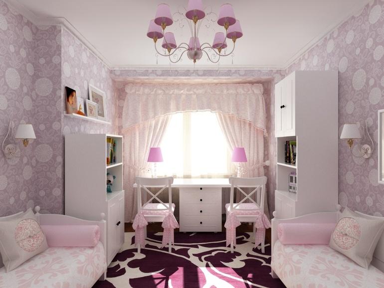 детская комната для 2 девочек дизайн фото