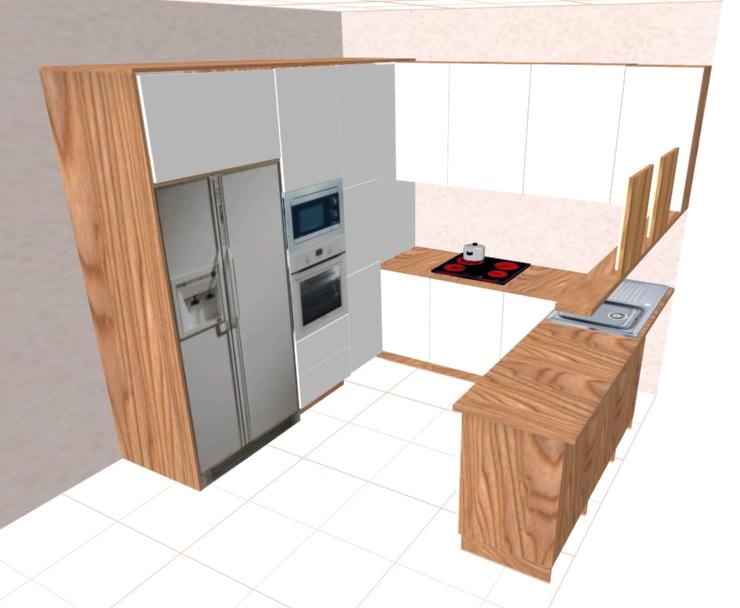Кухня буквой П с большим холодильником