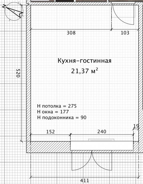 Помощь в планировке кухни-гостиной 5х4 (20 кв. м)-2
