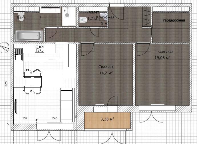 Помощь в планировке кухни-гостиной 5х4 (20 кв. м)