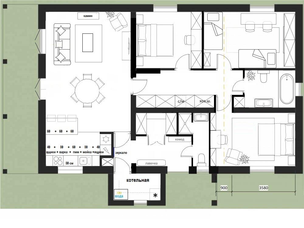 Покупка дома на стадии коробки - как расставить стены и мебель?