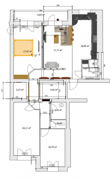 Перепланировка двушка+однушка (100 кв.)-2