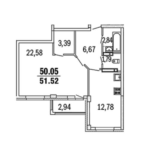 Гостиная-спальня с нишей.