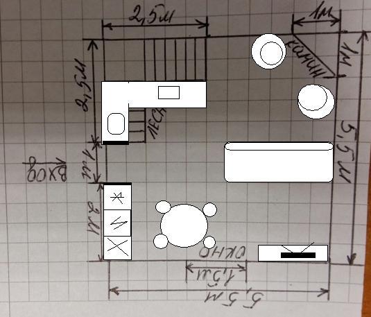 Помогите сделать планировку первого этажа гостинная-кухня