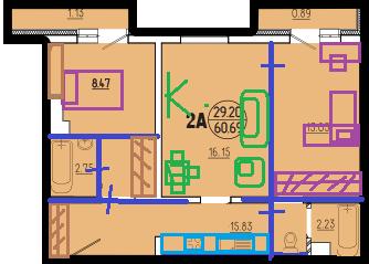 2-комнатная квартира для 4 человек