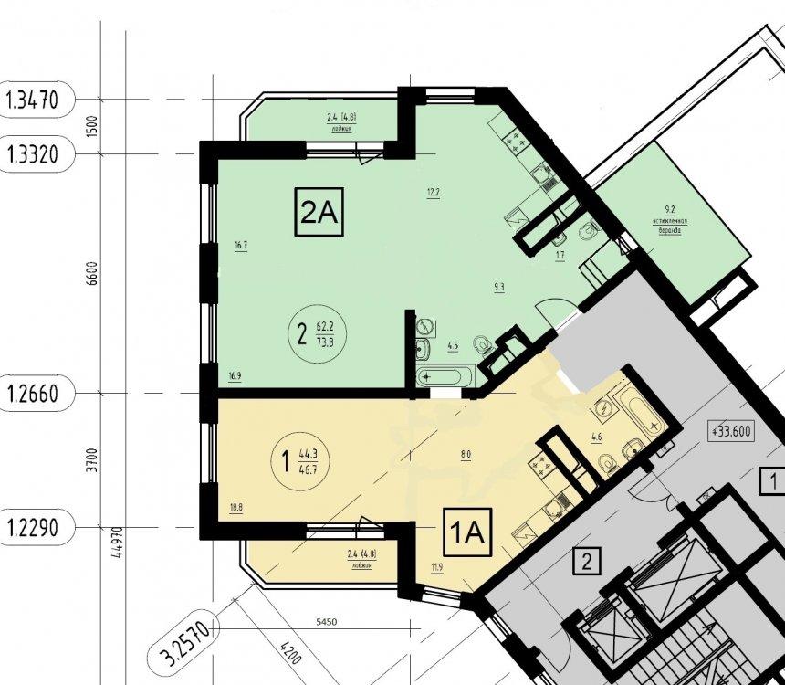 Объединение 2к+1к квартир в 4-комнатную в новостройке-2