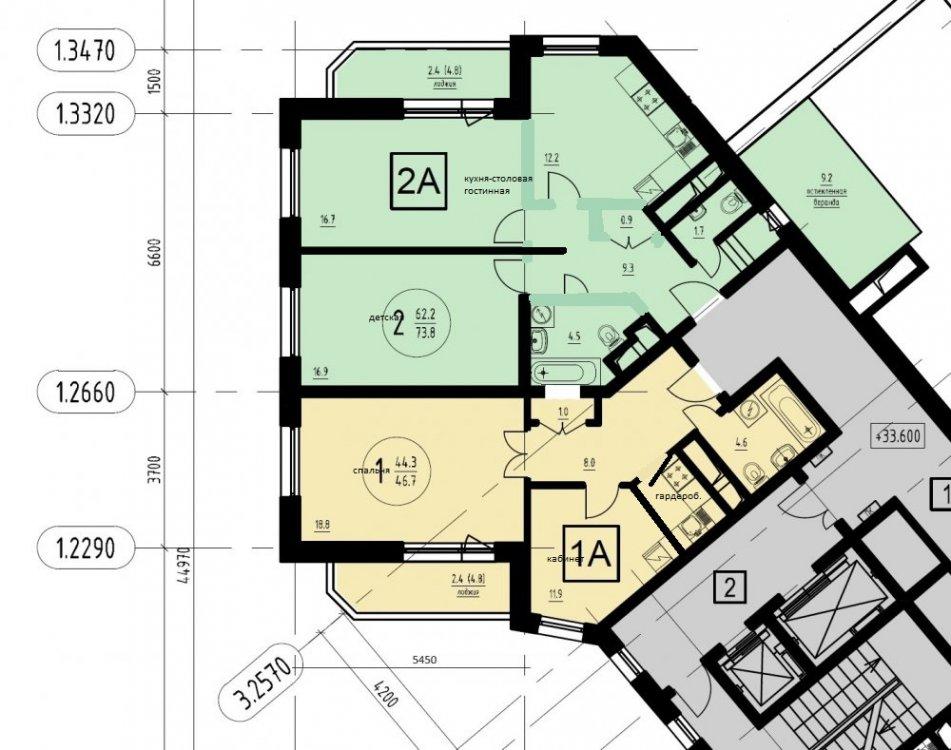 Объединение 2к+1к квартир в 4-комнатную в новостройке