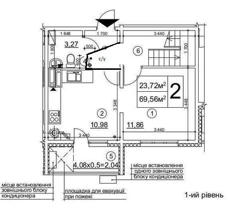 2х комнатная, 2 этажа