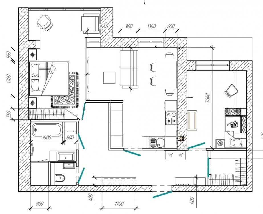Помогите советом по перепланировке квартиры в новострое 75 м2