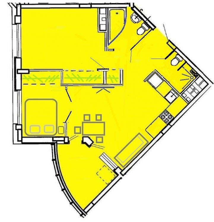 Квартира в форме сегмента. Прошу помощи с вариантами перепланировки-2