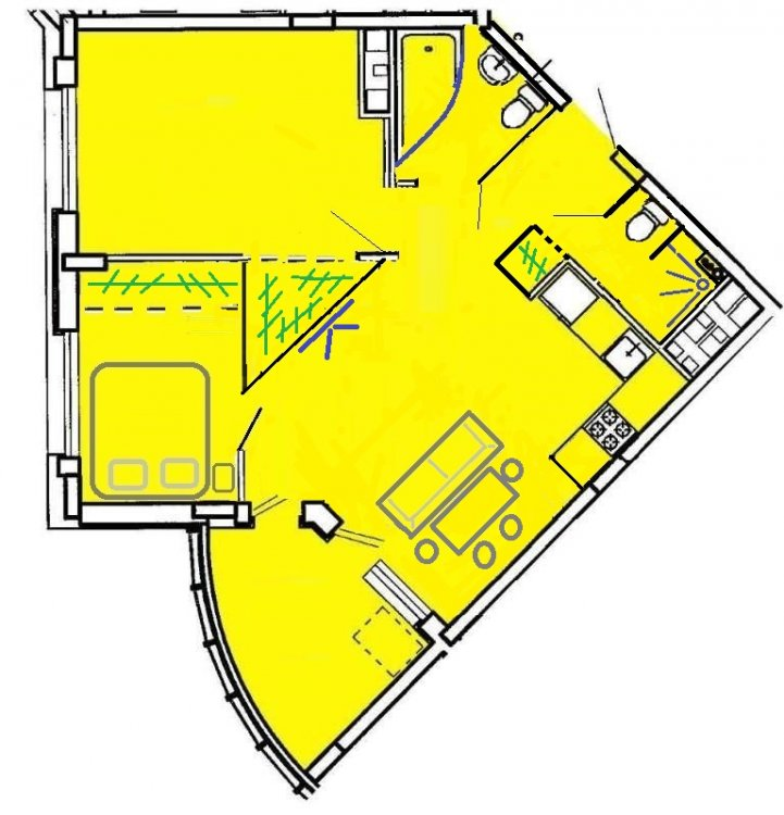 Квартира в форме сегмента. Прошу помощи с вариантами перепланировки-3