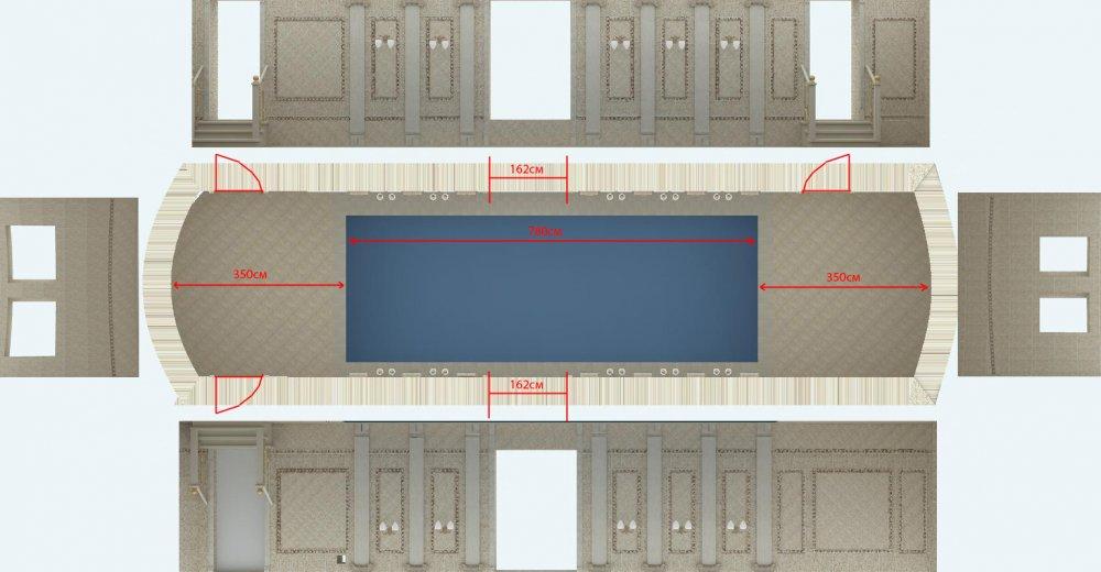 Цветовое решение потолка в бассейне-2