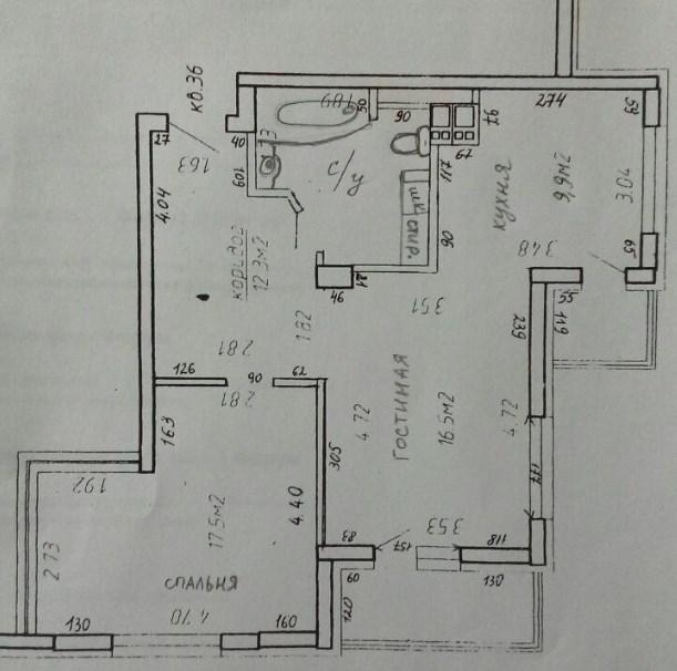 Перепланировка 2-шки 60м.кв