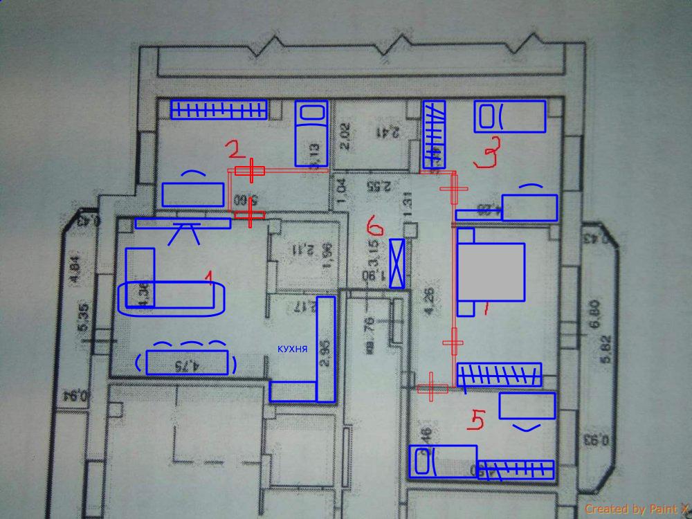 Перепланировка 4-комнатной с двумя проходными комнатами