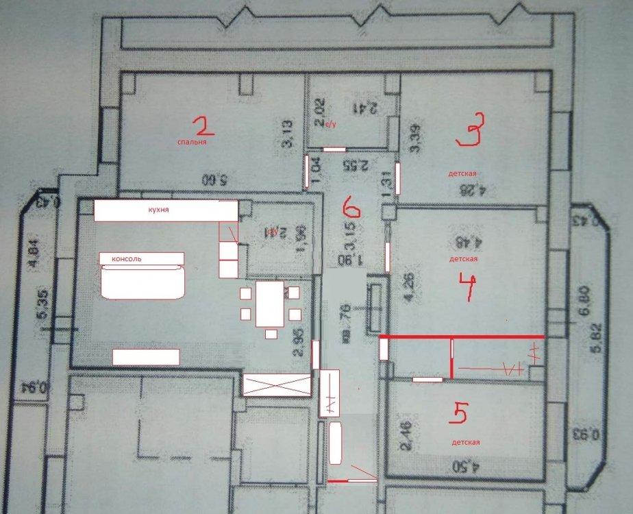 Перепланировка 4-комнатной с двумя проходными комнатами-2