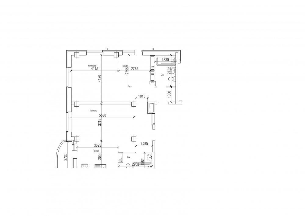 Планировка для 2-х комнатной студии
