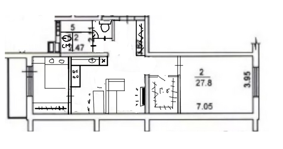 Перепланировка 2-комнатной квартиры-студии