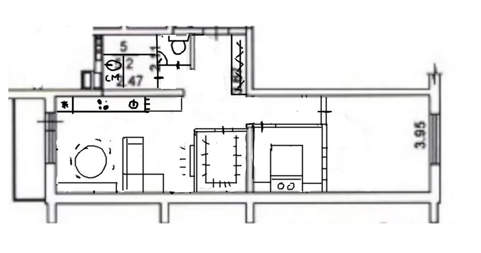 Перепланировка 2-комнатной квартиры-студии-3