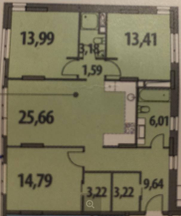планировк 3-шки 95 кв.м для 4-ых
