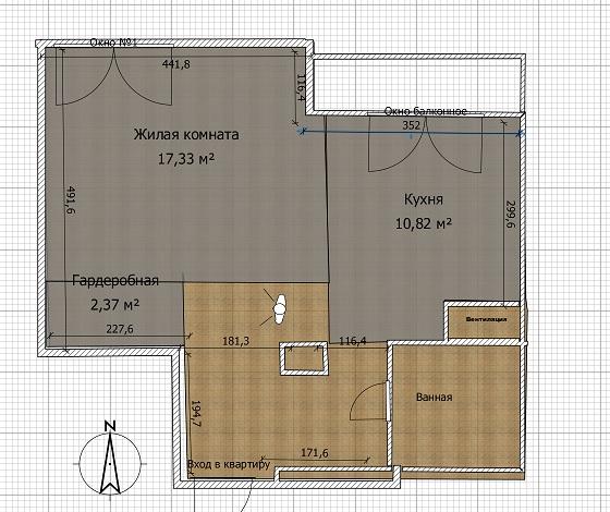 Квартира неправильной формы 44м2, как спланировать отдельную спальню + кухню гостиную.