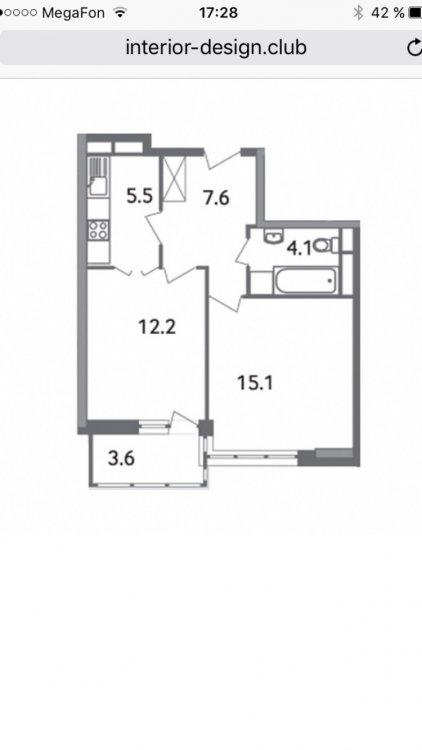 Планировка 1-к квартиры 45 м.-2