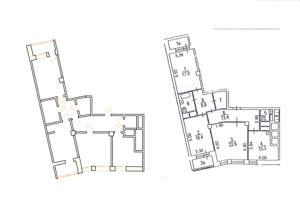 Перепланировка из 3-комнатной в 4-комнатную