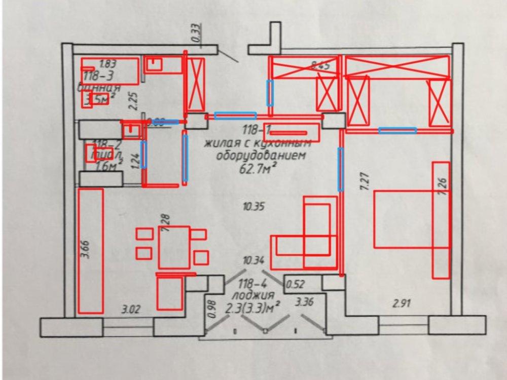 Помогите организовать пространство в квартире 70,1 кв