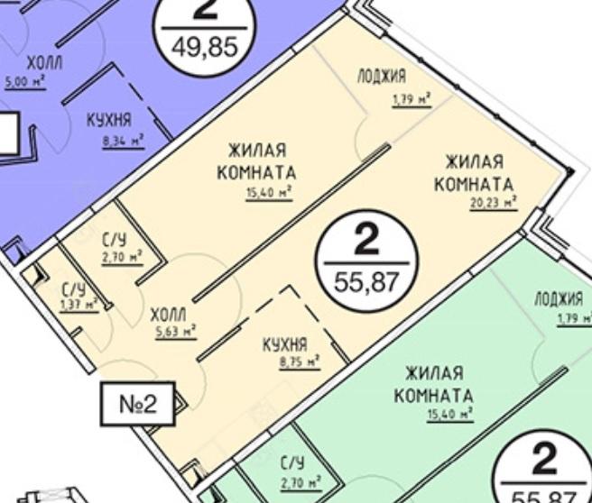Евродвушка 55,8 кв.м. Минус лоджия плюс комната?