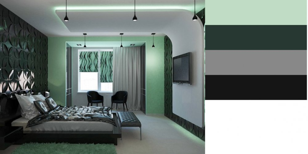 Спальня в темно зеленом цвете дизайн фото