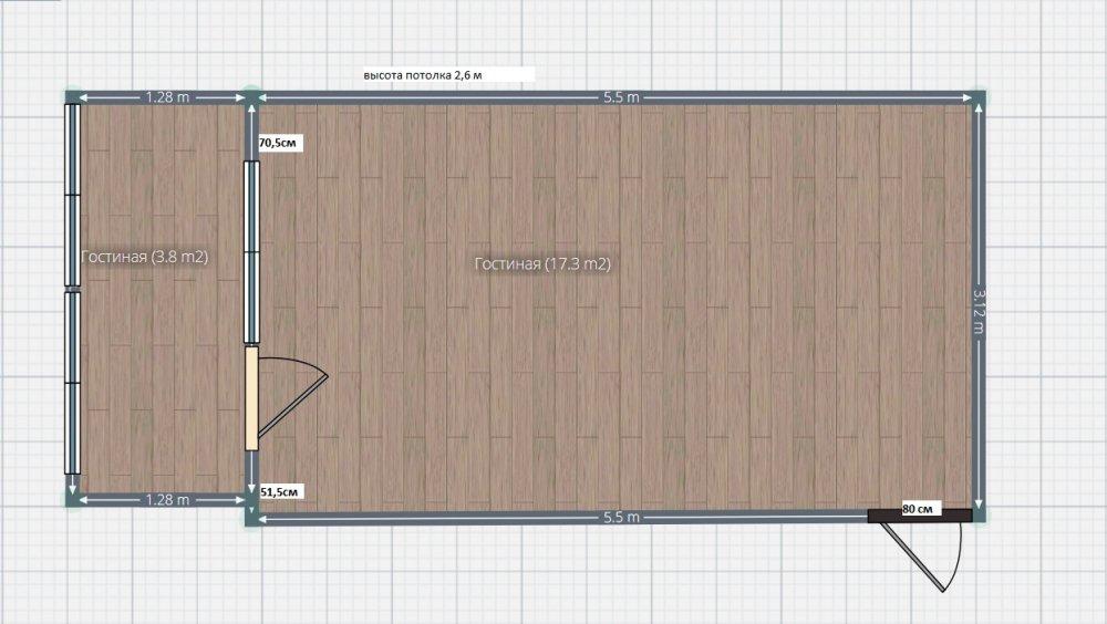 Помогите спланировать  гостинную-спальню на  17,2m кв.
