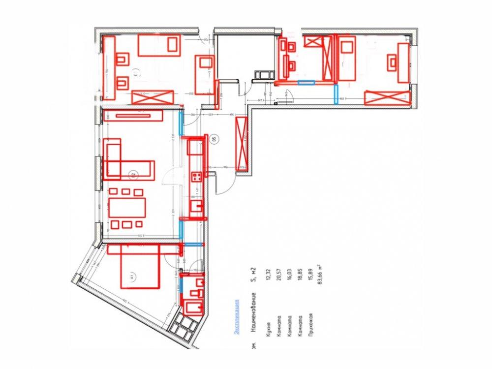 Квартира 92 кв.м. просит преображения